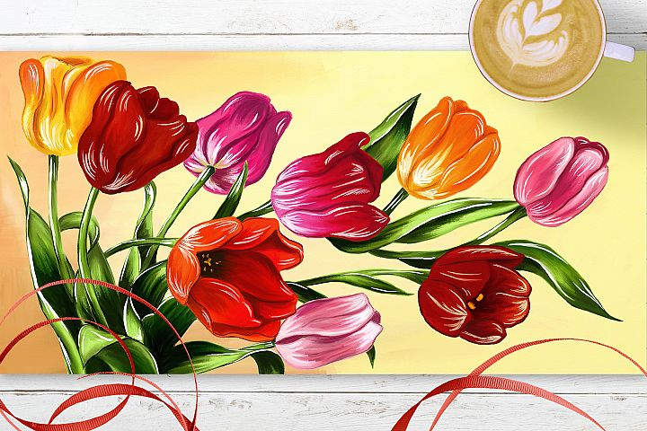 Tulips digital painting example 1