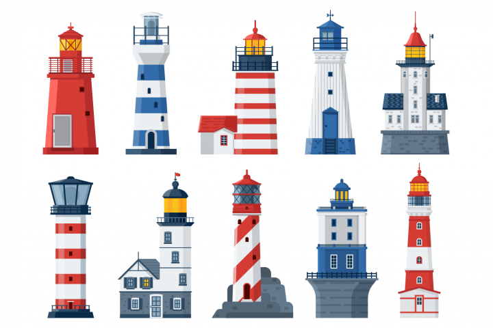 Flat Lighthouses and Sea Guide Lights