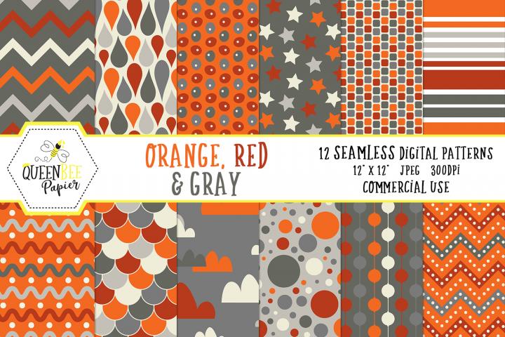 Boy Seamless Digital Patterns, Orange, Red, Gray