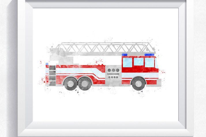 Watercolor fire truck, fire engine printable, fire truck wall art, rescue truck print, rescue vehicle print, boy bedroom wall art