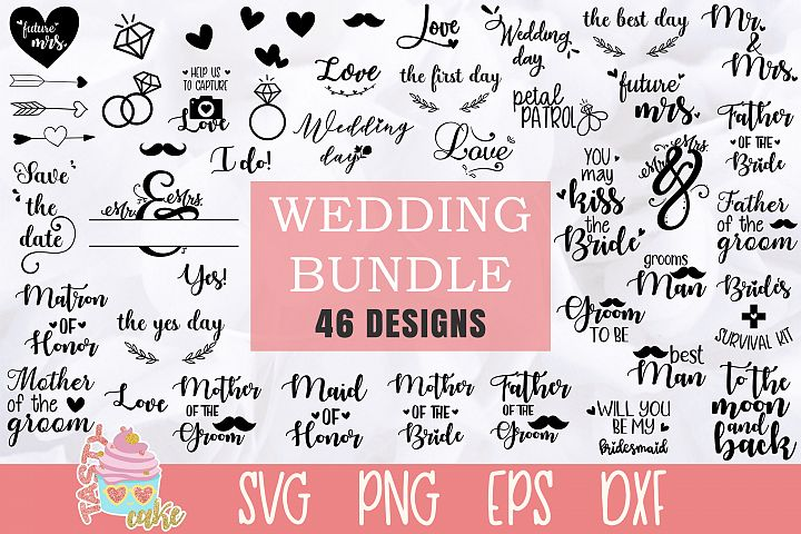 Wedding Bundle SVG - 46 Wedding Cut Files