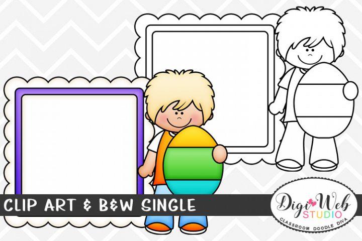 Clip Art & B&W Single - Easter Boy w/ Egg & Message Board