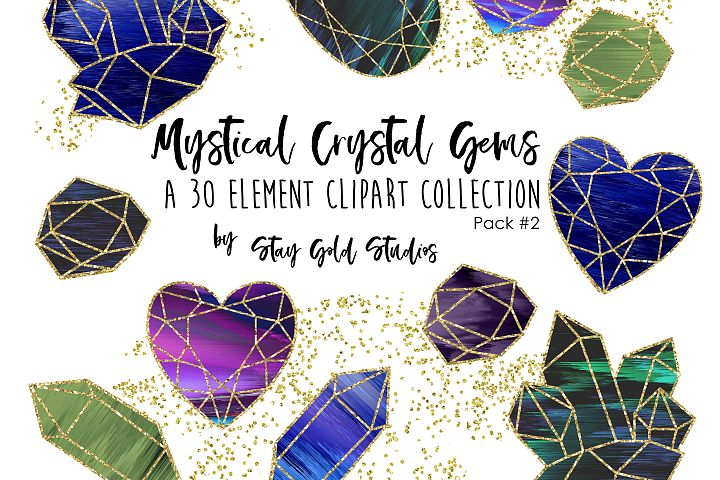 Mystical Crystal Gems Clipart Pack - Set #2