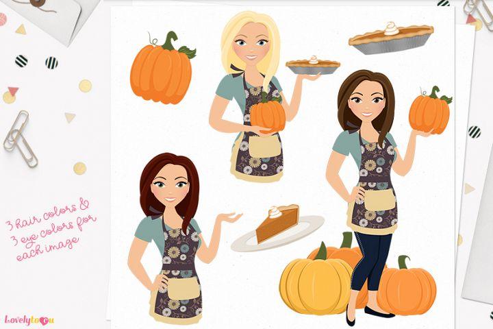 Pumpkin pie woman character clip art (L325 Margie)