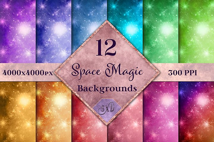 Space Magic Backgrounds - 12 Image Backgrounds Textures Set