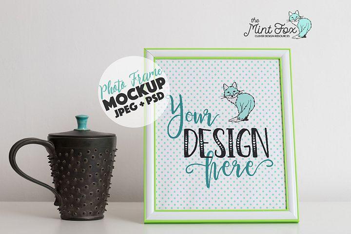 Photo Frame Mockup with Coffee Mug