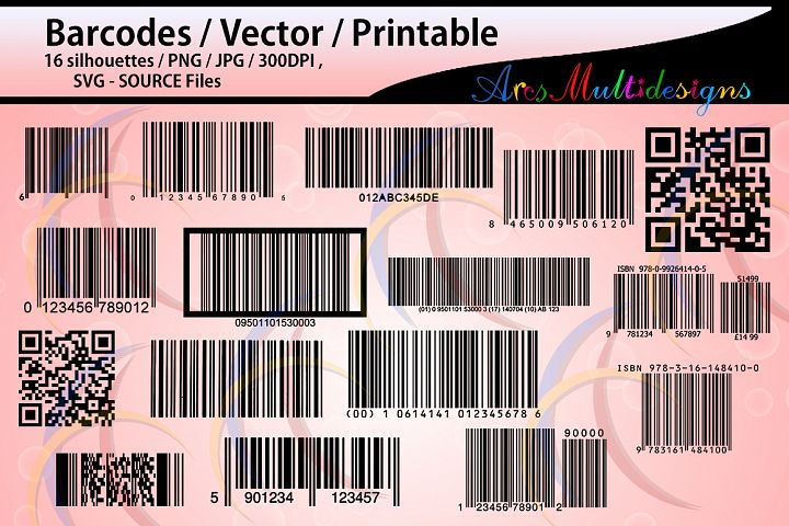 barcodes silhouette / 16 Barcodes / printable /High Quality / vector/ country codes / SVG / PNG / Jpg /DXf / EPs / bar code / code / script