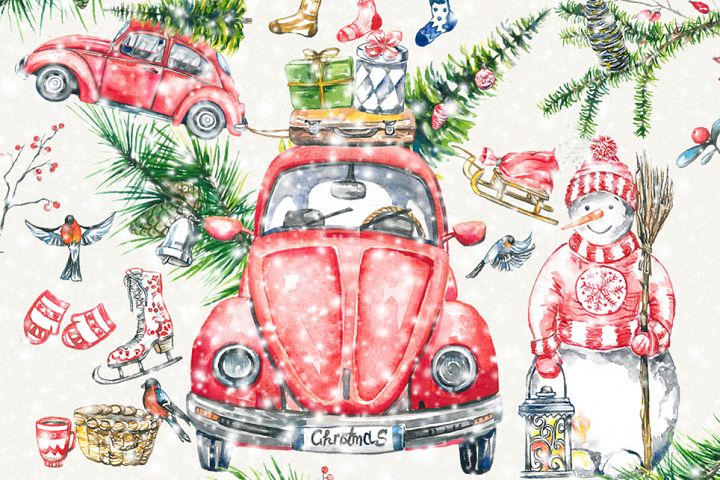 Christmas clipart, new year clipart, Hand Painted, digital