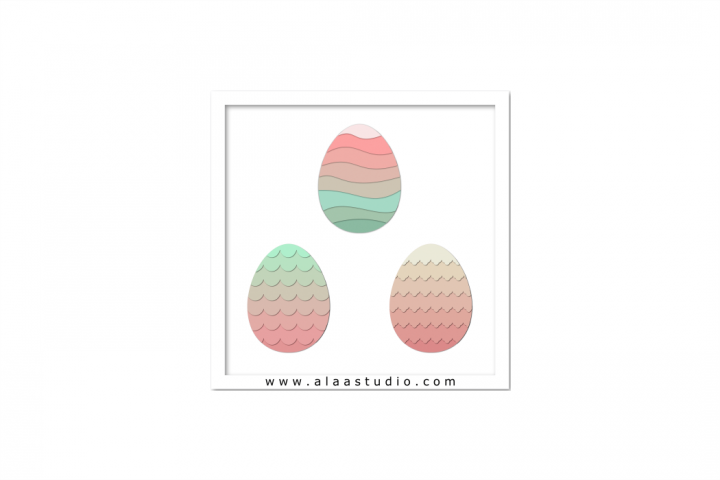 3D Layered decorative/ scalloped/ wavy eggs, SVG, PDF, SILHOUETTE STUDIO Formats