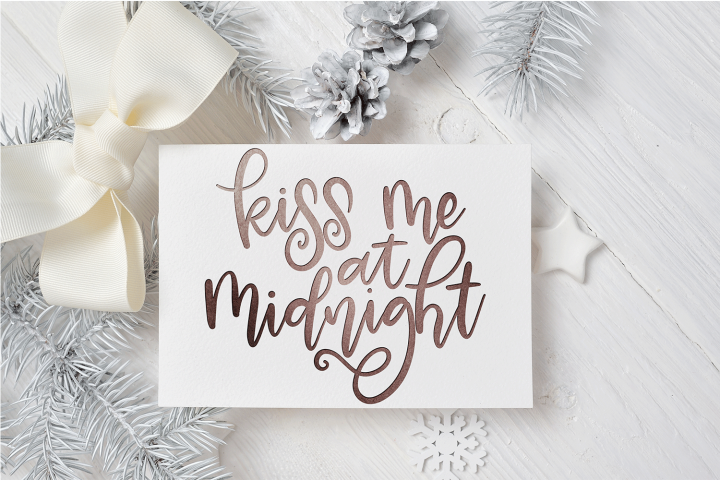 New Year SVG - Kiss Me at Midnight Hand-Lettered Cut File