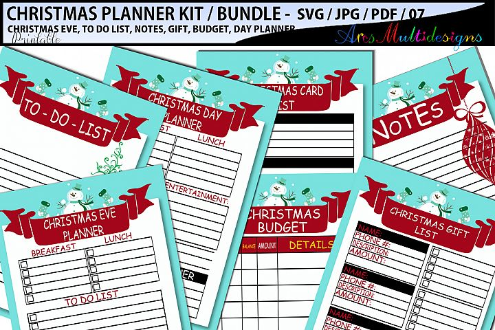 Christmas Planner SVG / printable christmas planner bundle