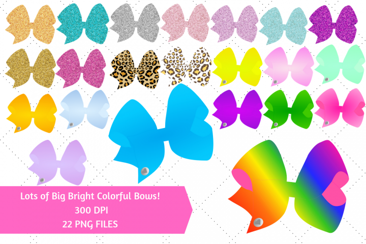 Big Bright Colorful Bows Clip Art - Girly Fashion Style