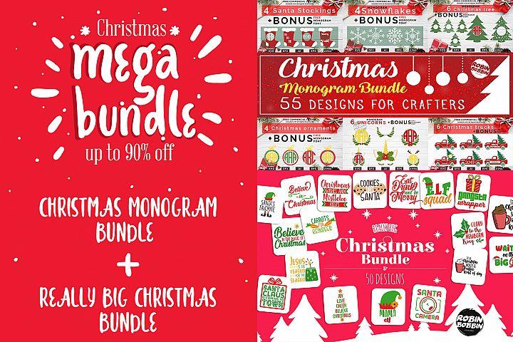 Mega Christmas Bundle - Christmas Monogram & Designs Bundle