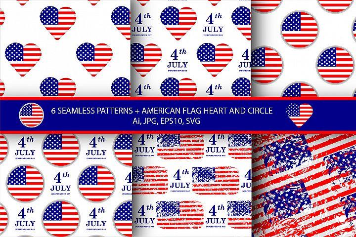 American flag patterns. 4th of July. Ai, EPS10, SVG, JPG