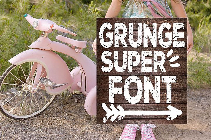 Super Grunge Font with Extras