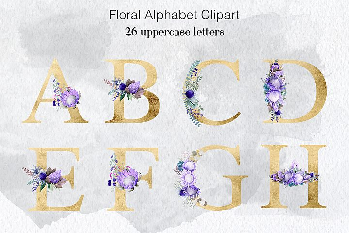 Flower Letters - Watercolor & Gold