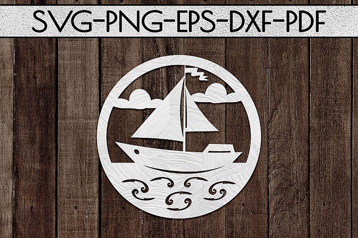 Sailing Boat Paper Cut Template, Summer Beach Decor SVG, PDF