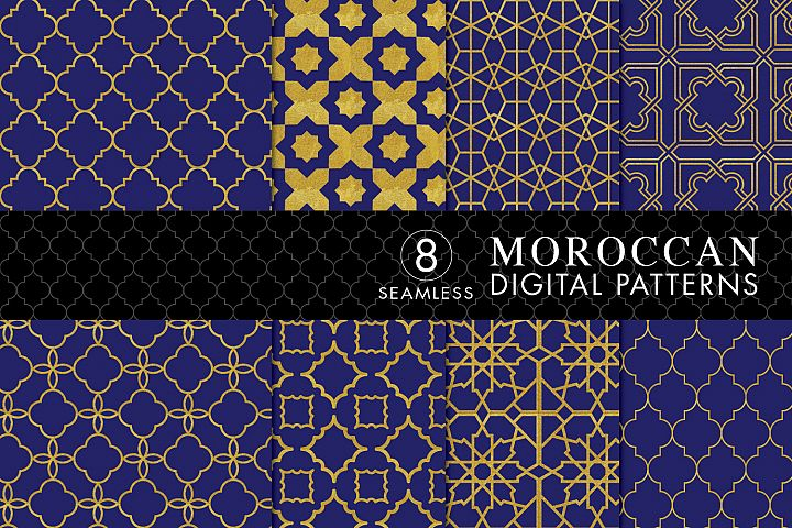 8 Seamless Moroccan Patterns - Gold & Cobalt Blue Set 2