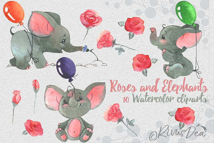 Roses and Elephants watercolor birthday clipart set