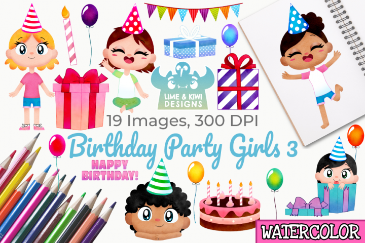 Birthday Party Girls 3 Watercolor Clipart, Instant Download