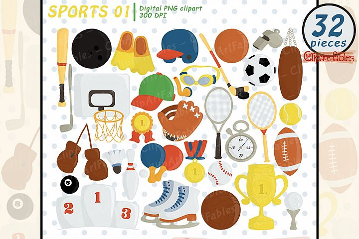 Sport clipart, Ball clip art, Sport birthday decor