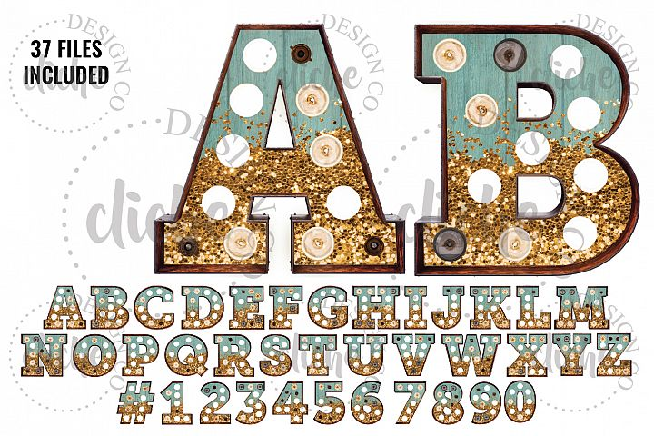 Teal Glitter Marquee Alphabet Sublimation Set