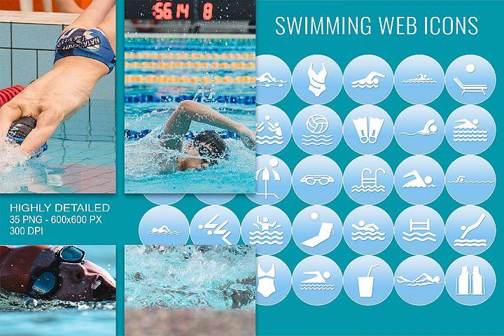 35 Swimming Web Communication Icons Set