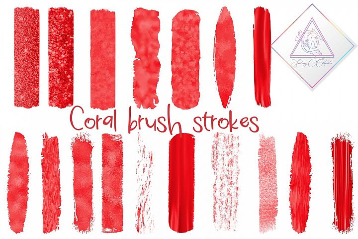 Coral Brush Strokes Clipart