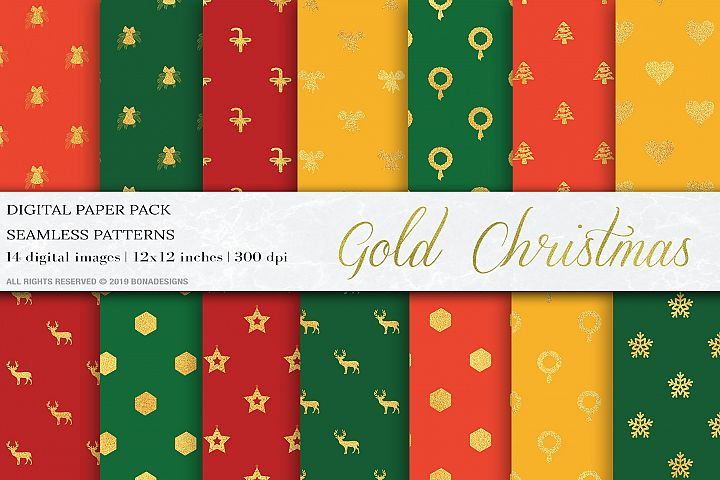 Gold Christmas Digital Papers, New Year Patterns