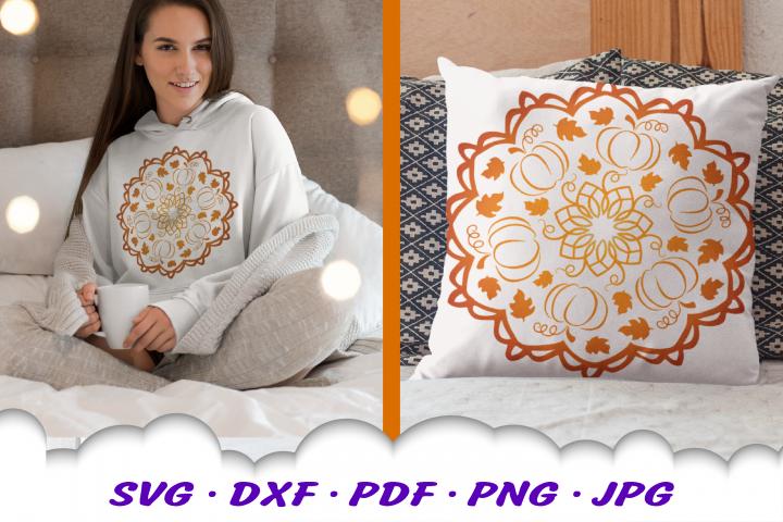Mandala Fall Pumpkin Leaves SVG DXF Cut Files