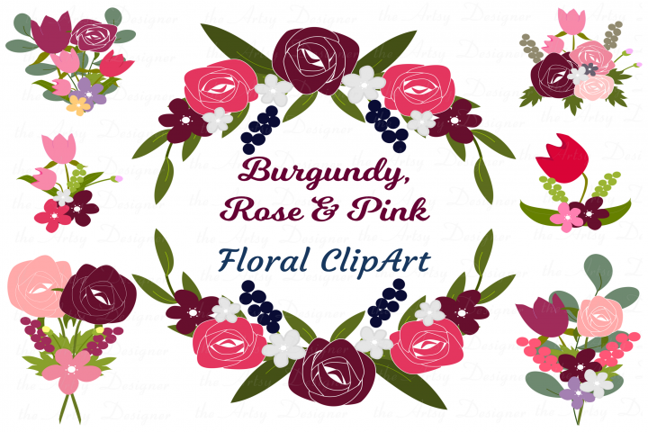 Burgundy Maroon Pink Floral Roses Sublimation Clipart Bundle