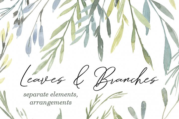 Watercolor Greenery Leaves Branches Frames Bouquets