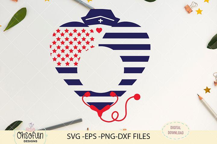 American nurse monogram, American flag monogram, SVG