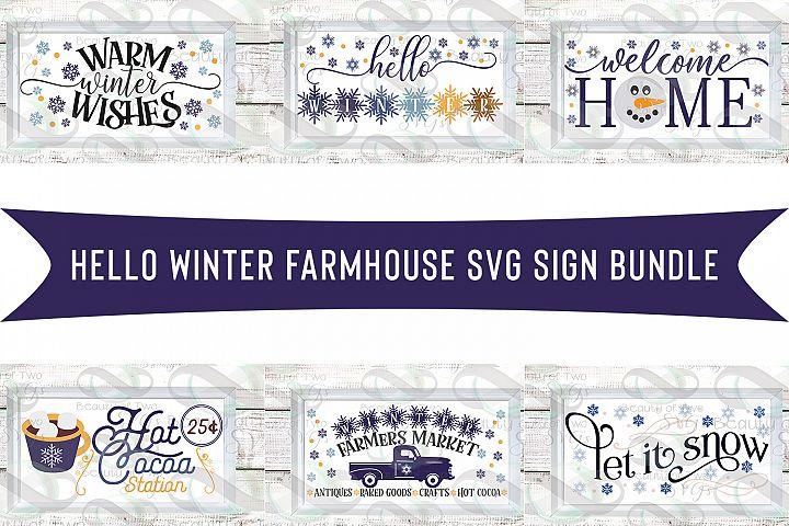 Farmhouse Hello Winter svg Sign Design bundle, 6 svg designs