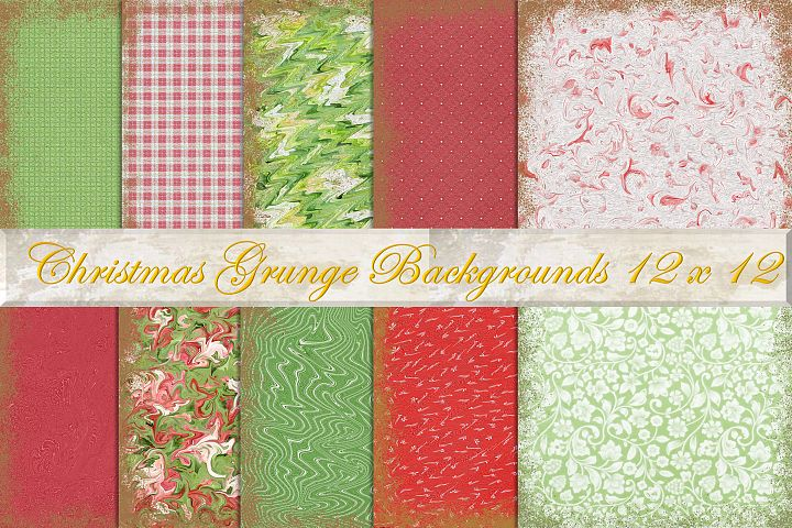 Christmas Grunge Backgrounds 12 x 12 Pack on ten CU.