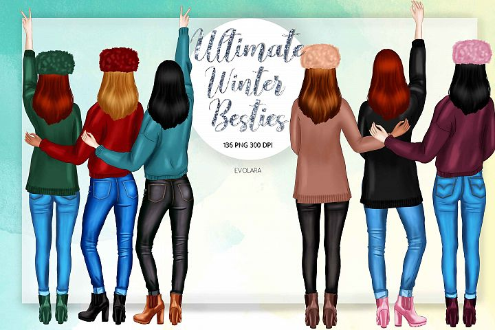 Best Friends Clipart Besties Clipart Winter Besties Clipart