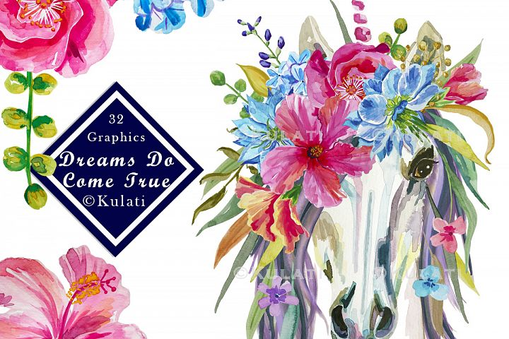 Floral Unicorn Graphics / Clipart / Illustrations