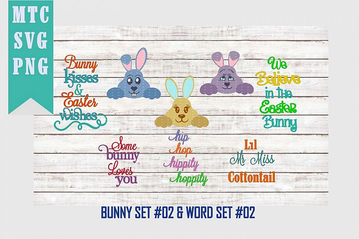 Peeping Easter Bunny Set #2 with Sayings Set #2 SVG Cut File