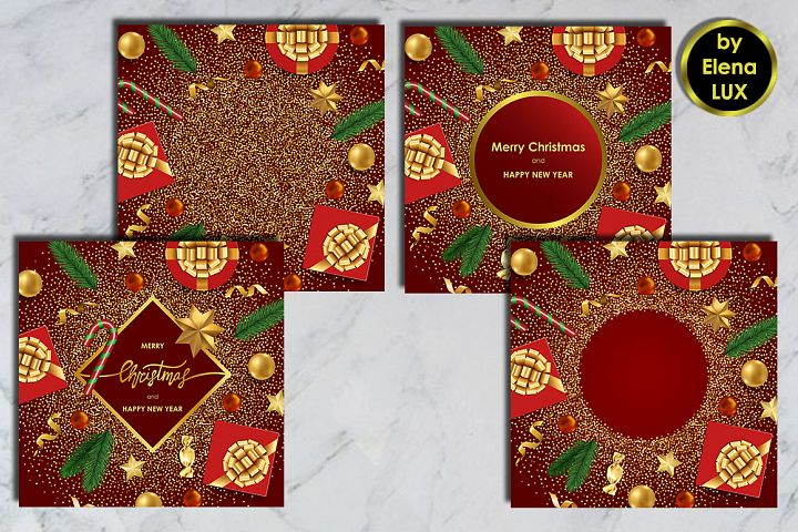 Christmas and New Year Card Set