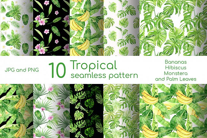 Watercolor digital paper pack with tropical palm leaves