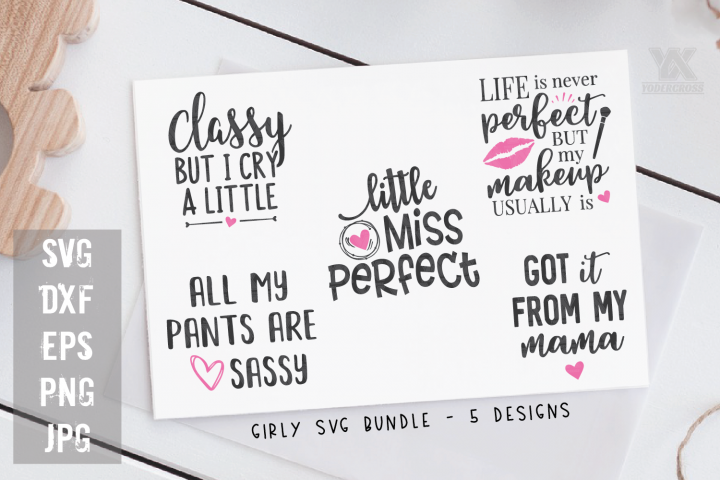 Girly SVG Bundle - 5 Baby Girl SVGs