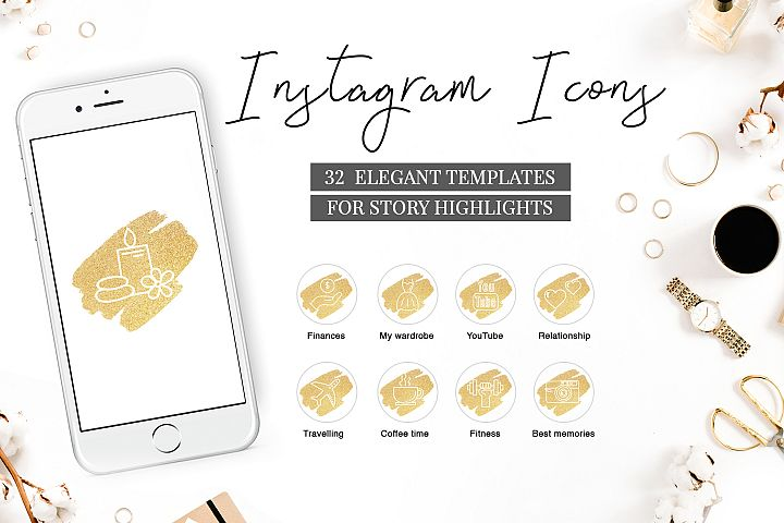 Instagram Highlight Covers GOLDEN BRUSH