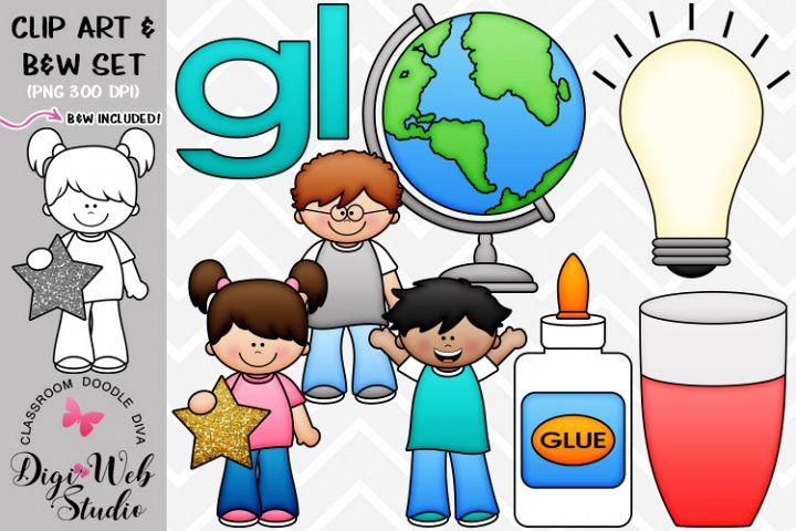 Clip Art / Illustrations - L Blends - gl Phonics