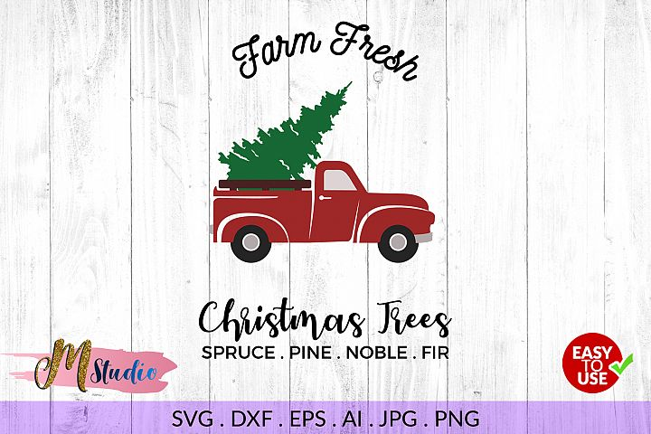 Farm fresh christmas tree svg , for Silhouette or Cricut.