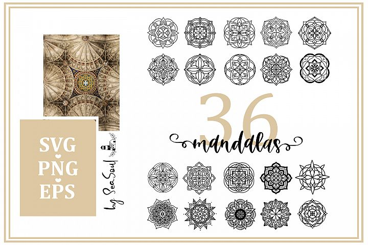 36 hand drawn mandalas. EPS, PNG, SVG Designs