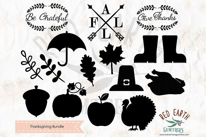 Thanksgiving elements bundle in SVG,DXF,PNG,EPS,PDF format