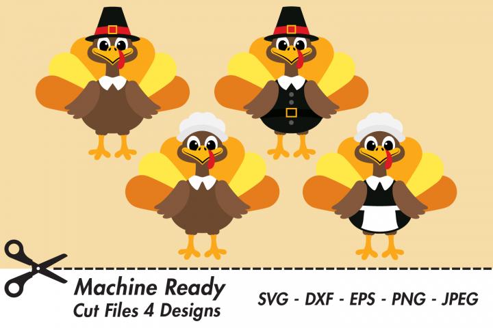 Cute Thanksgiving Pilgrim Turkey SVG Cut Files