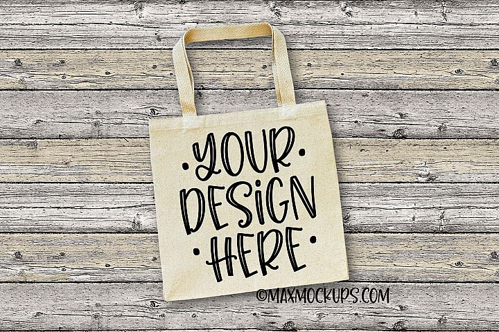 Canvas tote mockup, shopping bag, minimalist, wood backdrop