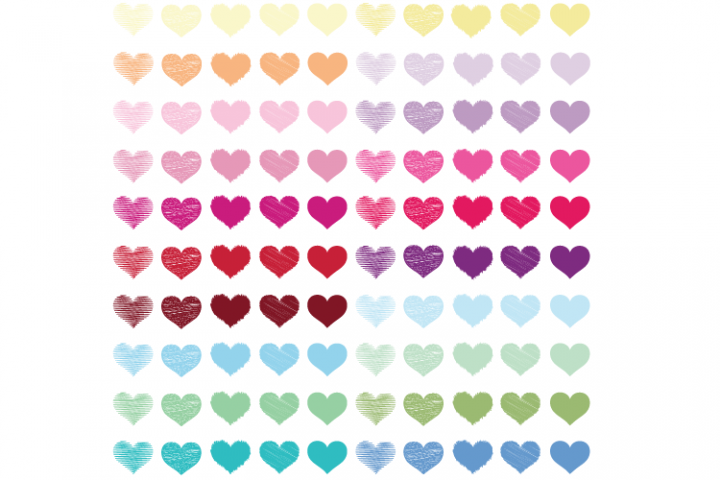 100 Hearts clipart PNG, Scribble Hearts, Hearts digital