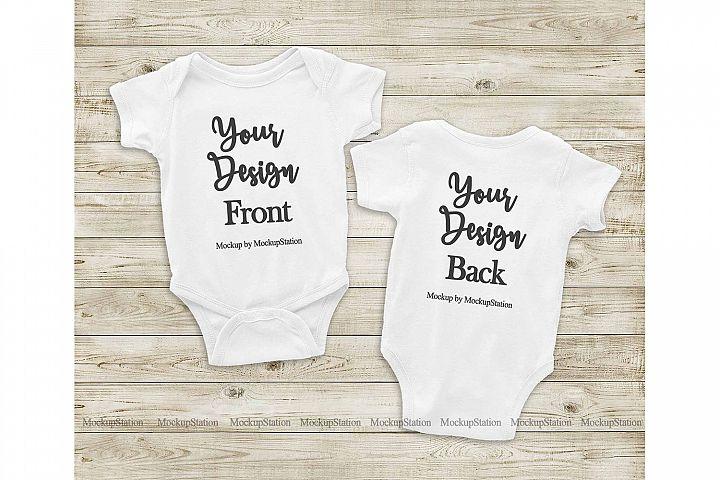 Front & Back White Baby Bodysuit Mockup, Toddler Mock Up